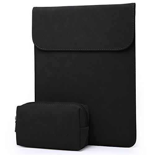 HYZUO 13 Inch Laptop Sleeve Water Resistant Case Compatible with New MacBook Pro Retina 2016-2018 13.3 Inch/Surface Pro 2017/Surface Pro 3 4 /Dell XPS 13 Faux Suede Leather Bag with Carrying Pouch