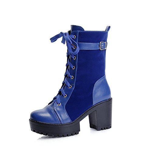 Toe Heels Blue AgooLar Round Women's Lace Materials Blend Closed Solid up High Boots XwqwBOvf