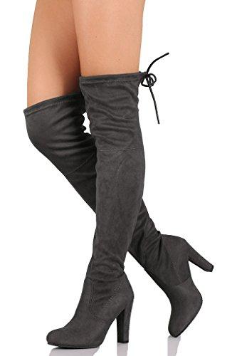 C. Longford Frauen Diva Oberschenkel hoch über dem Knie - Kordelzug Block klobige Ferse Pointy Round Toe - Stretchy Oberschenkel hohe Snug Fit Stiefel Graues Wildleder