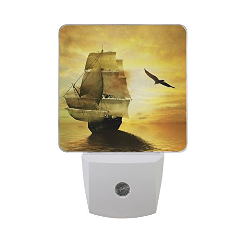 Naanle Set of 2 Sailboat Pirate Ship Floating On Gold Sunset Ocean with Seagull Nautical Theme Beautiful Landscape Auto Sensor LED Dusk to Dawn Night Light Plug in Indoor for Adults