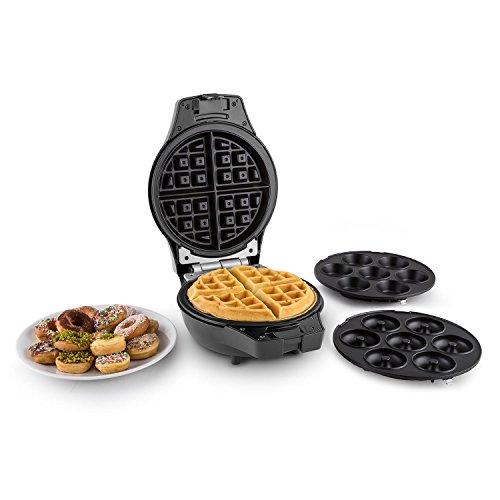 oneConcept Trinity Mini Cake-Pop-Maker Waffeleisen Donut-Maker (1000W Heizleistung, Backformen für Cake Pops, Mini-Donuts und Waffeln, Antihaftbeschichtung, Kontrollleuchten) schwarz