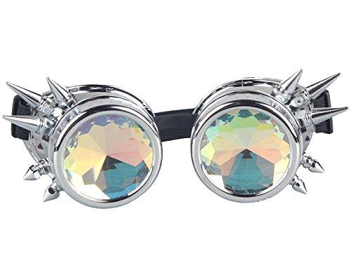 Para Halloween Steampunk Vintage al Remache de Cosplay Plata de brillante viento lentes gafas gótico Caleidoscopio espejo Parte de gafas FHa77f