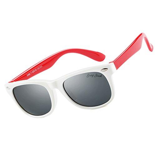 GREY JACK Classic Retro Kid Wayfarer Sunglasses for Boys Girls Aged 3-12 White Frame Red - 7 11 Sunglasses