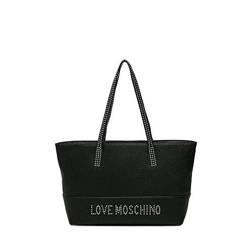 Love Moschino Borsa Grain Pu, Borse Tote Donna Nero (Nero Galv.nickel)
