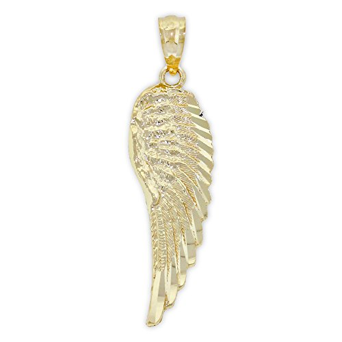 Charm America - Gold Diamond-cut Angel Wing Charm - 14 Karat Solid Gold (Gold Angel Wing)