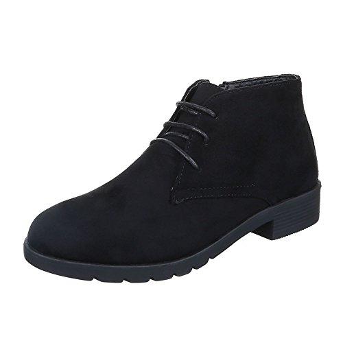 Ital-Design Schnürboots Damen Schuhe Combat Boots Blockabsatz Leicht Gefütterte Reißverschluss Stiefeletten Schwarz