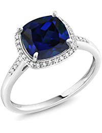 2.50 Ct Cushion Blue Simulated Sapphire 10K White Gold Ring with Accent Diamonds (Available in size 5, 6, 7, 8, 9)