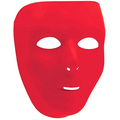 Red Full Face Mask (Amscan Party Perfect Team Spirit Full Face Plastic Mask (1 Piece), Red, 9 x 6.6