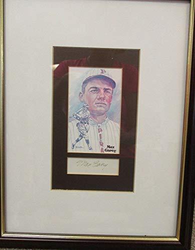 (MLB Max Carey Framed Matted Perez Steele Postcard & Autographed Signed Memorabilia Cut JSA Certified )
