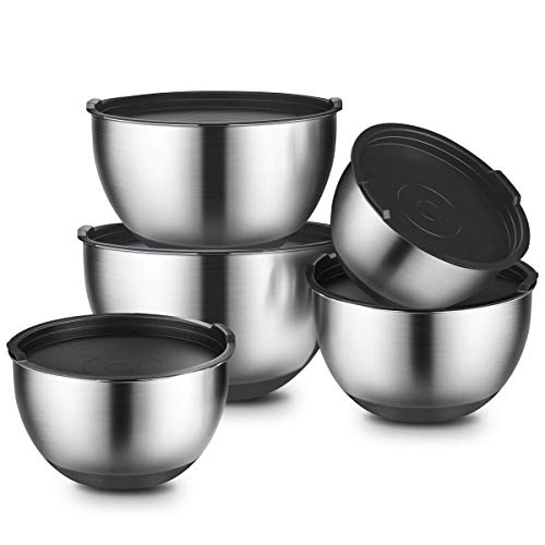 (Stainless Steel Mixing Bowl With Lids 5 Set, GEEMAY Non-Slip Silicone Bottom Mixing Bowls, for Beating, Stackable Storage, Measurement Marks, Includes 1 QT, 2 QT, 2.5 QT, 3 QT, 4.5)