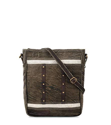 Canvas Crossbody handbag, Leather Trims Sling Hobo Messenger Shoulder Work Travel Trendy Design Vintage Purse by Daphne ()
