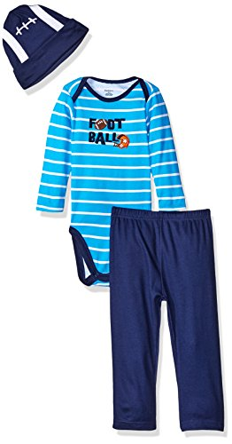 Gerber Baby Boys' 3 Piece Bodysuit, Cap, and Pant Set, Football, 0-3 Months (One Piece Pant Suit)