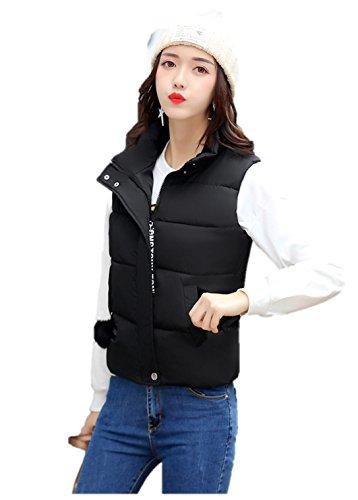 エーカー透けて見える適用するレディース ダウン ベスト フード 付き 中綿 可愛い 防寒 防風 袖なし アウター あったか K12681 (L, ブラック)