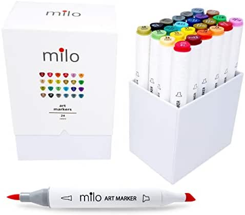 MILO 24 Art Marker Set Dual Tip Artist Markers | Brush Tip and Chisel Tip | Alcohol Based Coloring Markers | includes Marker Storage Box