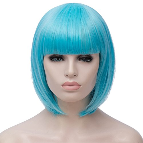 (Short Bob Wigs Blue Wig for Women with Bangs Straight Synthetic Wig Natural As Real Hair 12''with Wig Cap)