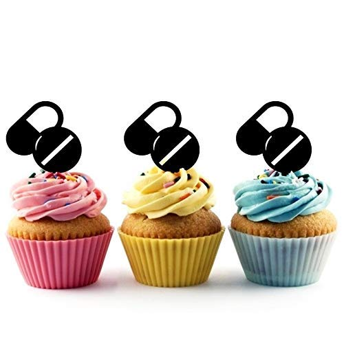 Drug Pills Tablet & Capsule Silhouette Acrylic Cupcake Toppers 12 ()
