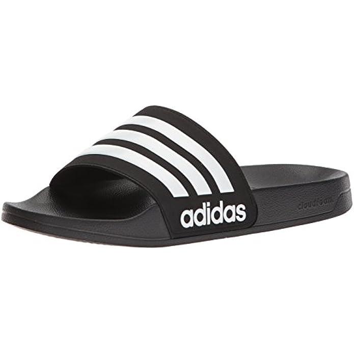 adidas Men's Adilette Shower Slide, Black/White/White, 10