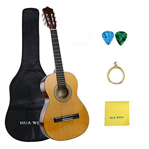 Classical Guitar set HUAWIND 36 inch 3/4 Size Starter Classical Acoustic Guitar with Gig bag,Picks, Strings, Polishing Cloth Ltd. HWCG30/36/39