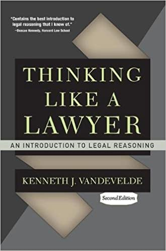 Amazon thinking like a lawyer an introduction to legal amazon thinking like a lawyer an introduction to legal reasoning 9780813344645 kenneth j vandevelde books fandeluxe Gallery