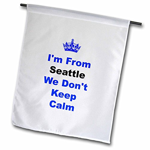 3dRose fl_180042_1 Don't Keep Calm, Seattle, Blue and Black Letters on White Background Garden Flag, 12 by 18-Inch - Seattle Mariners Hanging