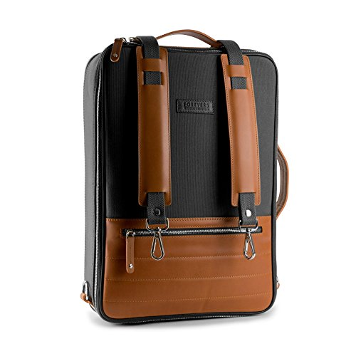 48Hr Switch Leather and Canvas Bag - Free Minimalist Leather Wallet Included - 3in1 Expandable Laptop Camera Briefcase Backpack Messenger Bag (Rum-Black)