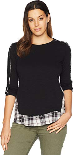 Two by Vince Camuto Women's Long Sleeve Mixed Media Plaid Fray Hem Top Rich Black Small