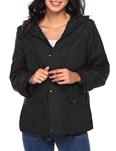 Transpirable Ligero Chaqueta Impermeable Jacket Con Capucha A Especial Windbreaker Rain Mujeres Cremallera Estilo Presión Schwarz Botón Y 6IEYdwExXq