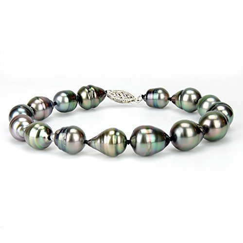 14k White Gold 8-10mm AAA Handpicked Black Baroque Tahitian Cultured Pearl Bracelet, (9mm Black Pearl Necklace Bracelet)