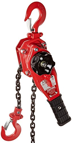 Coffing LSB-1500B-10 Steel LSB-B Model Ratchet Lever Hoist with Hook, 10' Lifting Height, 3/4 Ton Load ()