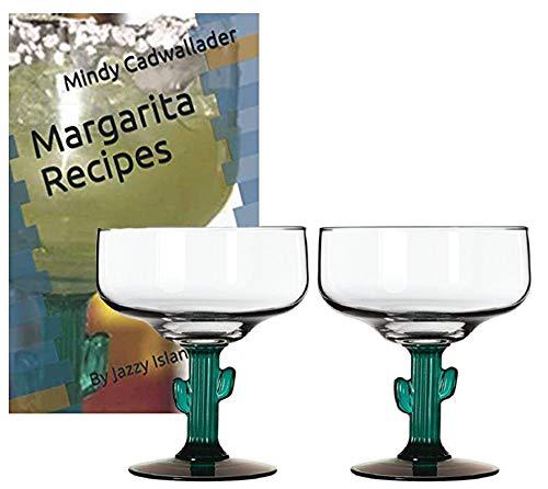 (Classic Margarita Glasses - Green Cactus Stems - Cozumel Margarita 12 ounces - Blended Margaritas - On The Rocks )
