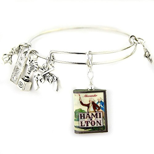 [ALEXANDER HAMILTON Clay Mini Book Expandable Bangle Bracelet by Book Beads] (Costumes And Courage Song)