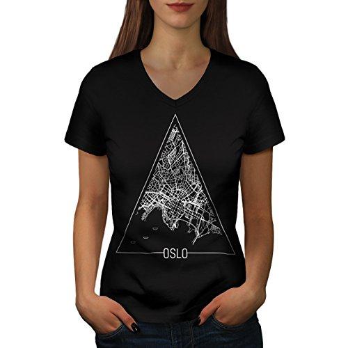 Norway Big City Oslo Town Map Women NEW XXL V-Neck T-shirt | Wellcoda (City View Shirt)