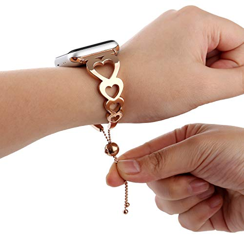 Tassel Shaped (WONMILLE Compatible iWatch Strap 38mm Rose Gold, Classy Stainless Steel Cuff Bracelet Jewelry Chain Apple Watch Bands Unique Heart-Shaped with Pendant and Tassel for Feminine (38mm Rose-Gold-Love))