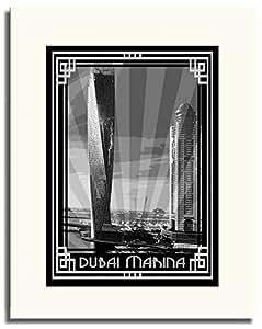 Dubai Marina- Black And White With Silver Border F05-m (a3) - Framed