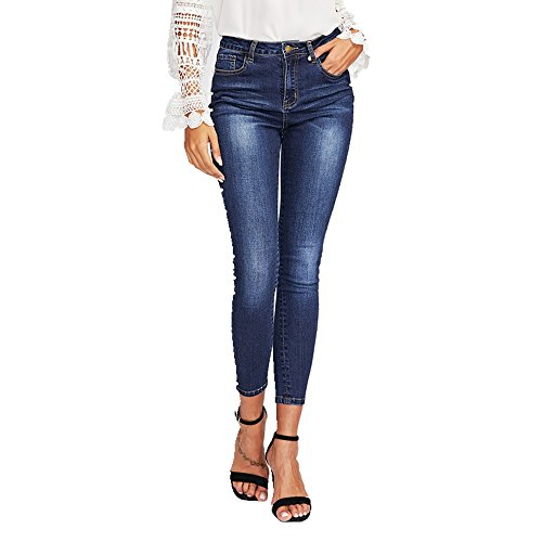 Skinny Grossartig Jeans pour Slim Pencil Pants Blue Pantalons Beaded Femmes vvqr5wUax