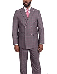 Stacy Adams Classic Fit Gray with Pink Windowpane Double Breasted Suit