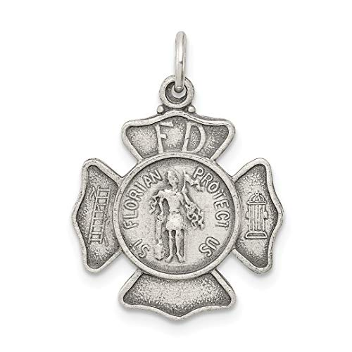 925 Sterling Silver Saint Florian Badge Medal Pendant Charm Necklace Religious Patron St Fine Jewelry For Women Gift Set (14k Runner Gold Charm)