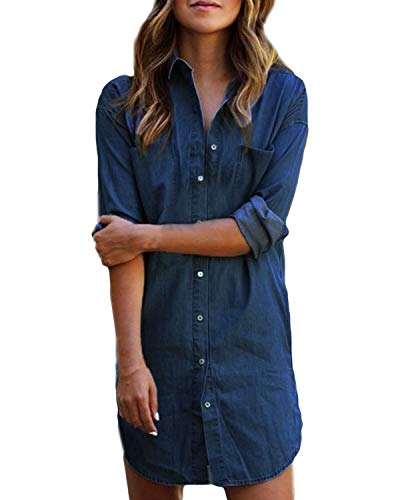 Kidsform Women's Long Sleeve Blouse Dress Button Down T-Shirt Chambray Cotton Shirt with Pockets A-Dark Blue Small