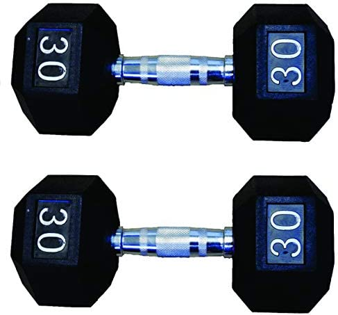 New York Barbells 30 lb Rubber hex Dumbell with Chrome Plated Solid Contour Shape Steel Handle Sold AS A Pair Pair