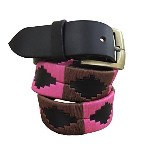 278ce44f8 Carlos Diaz Cinturón de polo argentino de cuero Negro bordado para hombres  y mujeres unisex Buena