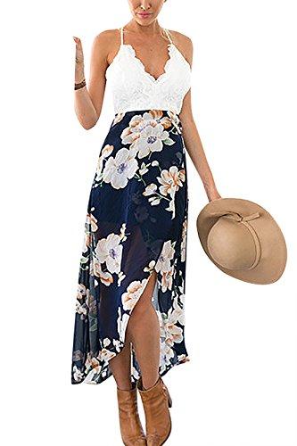 Wrap Details Front Picture Maxi Print Floral Dress YOINS Lace Women with Casual fqcAvE