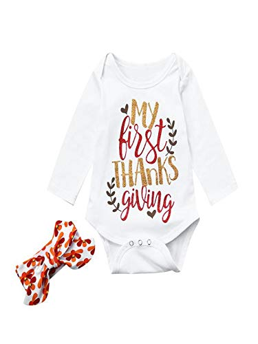 (Baby Outfit 12-18Months Thanksgiving Christmas Clothes Romper+Headband 2Pcs)