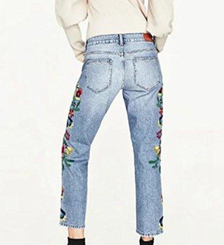 Vaqueros Dooxi claro Mujer Casual Bajo Azul Delgado Bordado Moda Tejanos Boyfriend Pantalones Cintura rn7rwqY