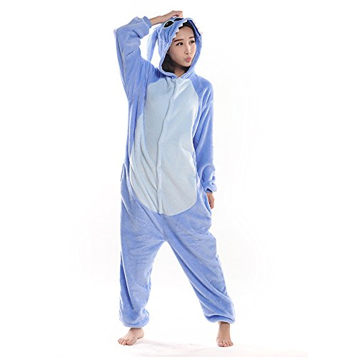 [Coral Fleece Stitch Onesie Pajama Costume for Adult and Teenagers (L for height 169-178, Blue)] (Pajamas Dance Costumes)