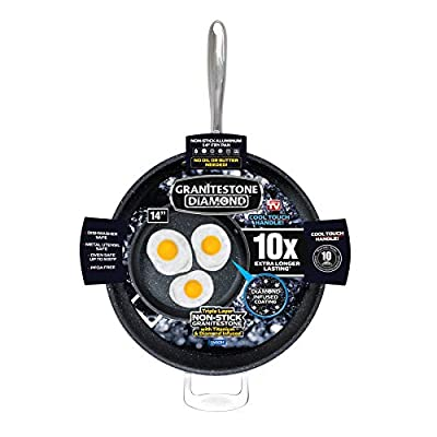 """GRANITESTONE 2592 Family Pan 14"""" Non-stick, No-warp, Mineral-enforced Frying Pans With """"Stay-Cool"""" Handles PFOA-Free As Seen On TV"""