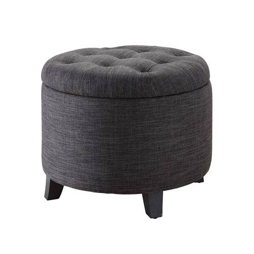 Ottoman Storage Tray Round (Convenience Concepts Designs4Comfort Round Ottoman Gray Fabric)