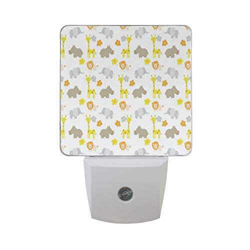 Colorful Plug in Night,Baby Jungle Animals Elephants Lions Giraffes Hippopotamuses Nature Inspired Design,Auto Sensor LED Dusk to Dawn Night Light Plug in Indoor for Childs Adults