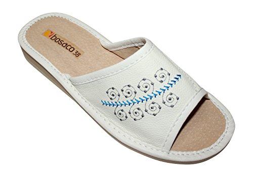 Confortables Zapatillas de lujo en Cuero real punta abierta por Mujer mSirBukY