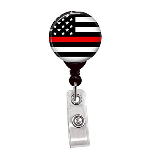 Thin Red Line USA Flag - Retractable Lanyard Badge Reel - Nurse ID Name Tag Custom Clip On Badge Holder (1/4 Flag Spring Pinch Clip)