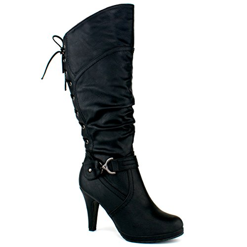 High Leg Leather Boots (Premier Standard - Women's Mid-Heel Trendy Fashion Boot, TPS Page-65 v3 Black Size 10)